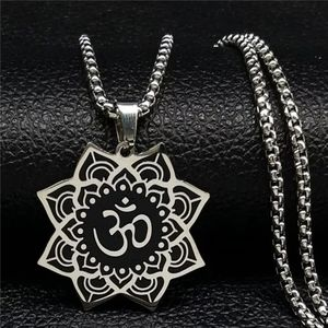 Wicca Lotus Stainless Steel Chain Necklace for Men